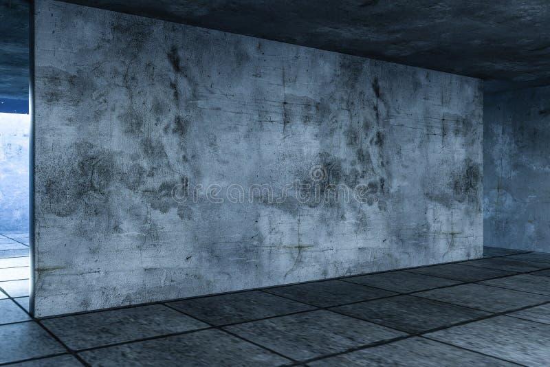 3d rendering zaniechany pusty pokój przy nocą ilustracji