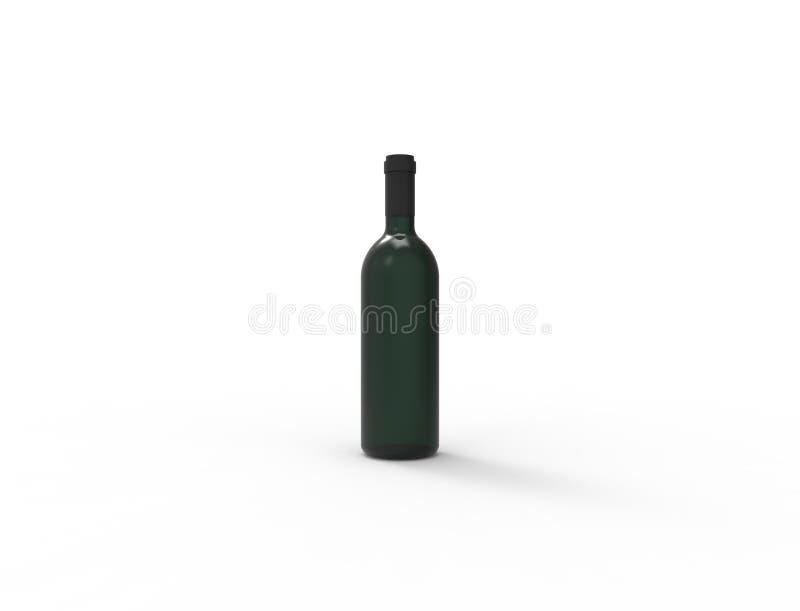 3d rendering zielona wino butelka odizolowywająca w białym pracownianym tle ilustracji