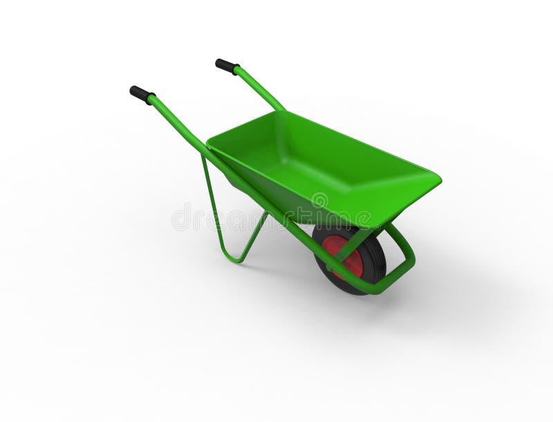 3D rendering zielony wheelbarrow odizolowywaj?cy w bia?ym tle ilustracja wektor