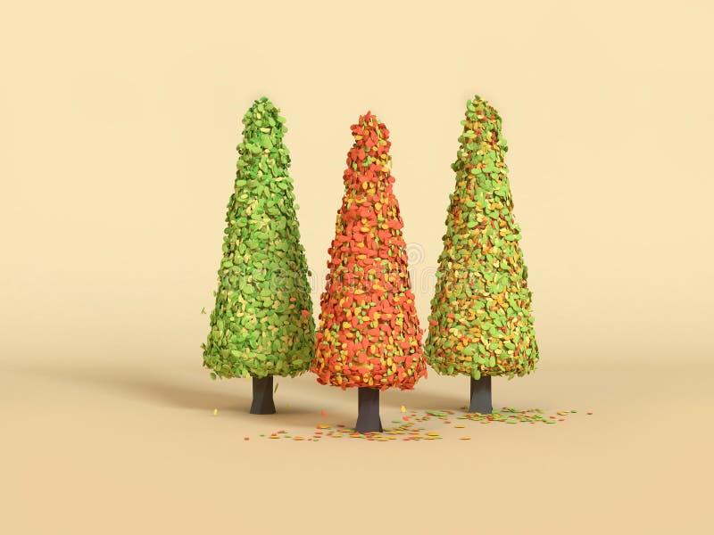 3d renderingu żółtej zieleni trzy czerwonej sosny kreskówki stylu minimalny spadek, jesień sezon/ ilustracji