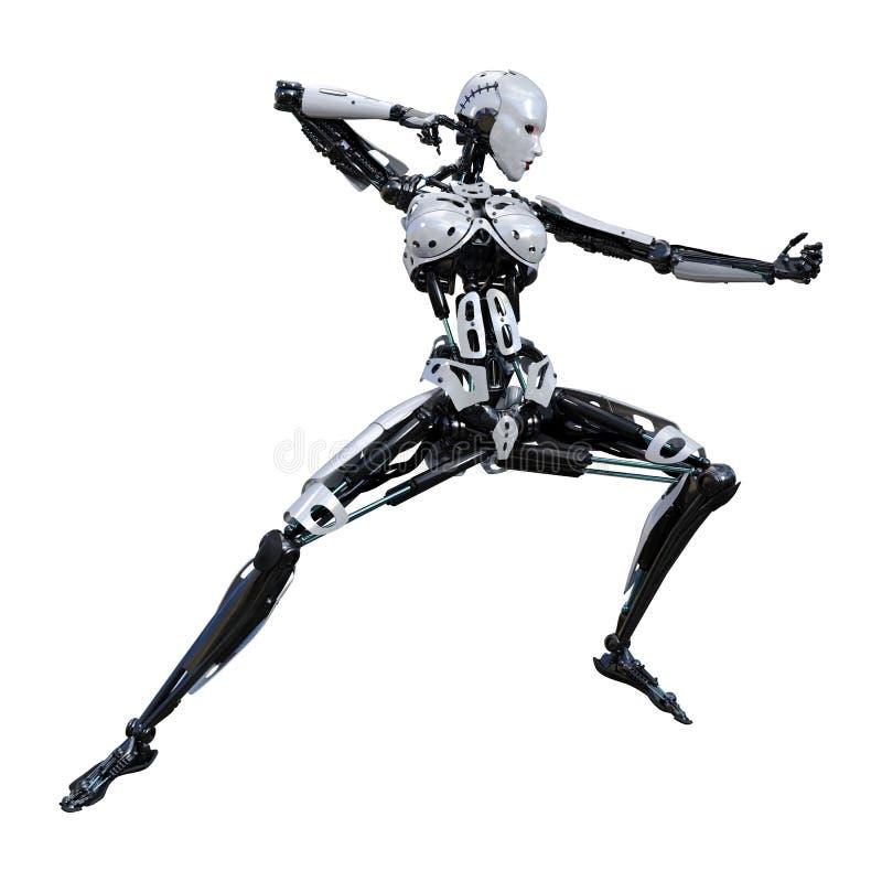 3D renderingu Żeński robot na bielu ilustracji