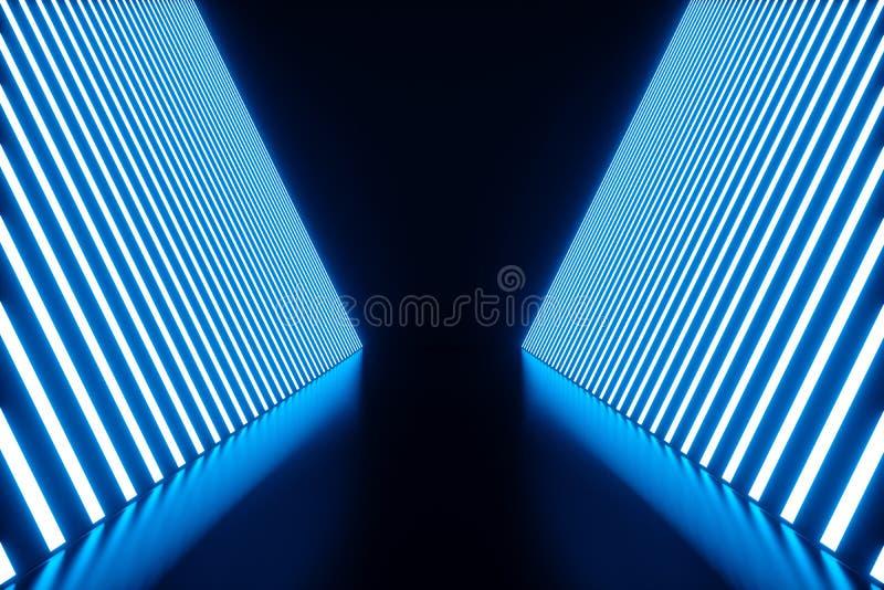 3D renderingu Abstrakcjonistyczny błękitny izbowy wnętrze z błękitnymi neonowymi lampami futurystyczny architektury tło Egzamin p ilustracji