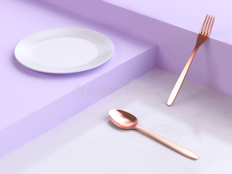 3d renderingu abstrakcjonistycznych purpur sceny naczynia groszaka rozwidlenia biała geometryczna podłogowa łyżka royalty ilustracja