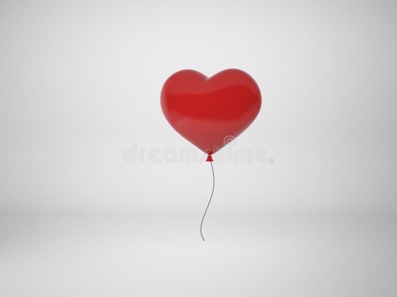 3D renderingu czerwieni balon w formie odizolowywającej na bielu plecy serce ilustracja wektor