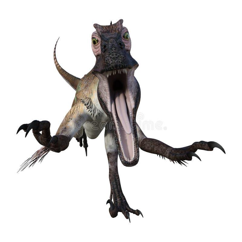 3D renderingu dinosaur Utahraptor na bielu royalty ilustracja