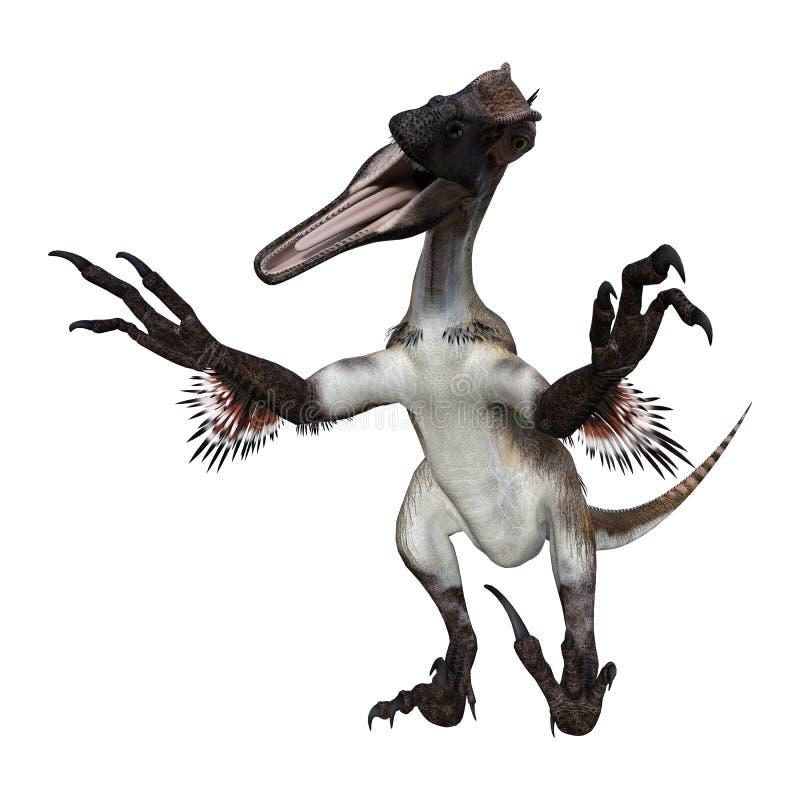 3D renderingu dinosaur Utahraptor na bielu ilustracji