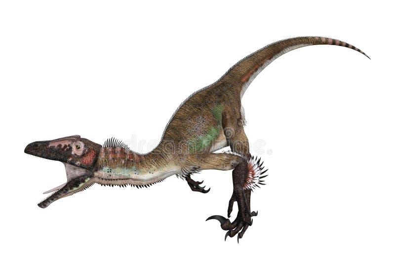 3D renderingu dinosaur Utahraptor na bielu ilustracja wektor