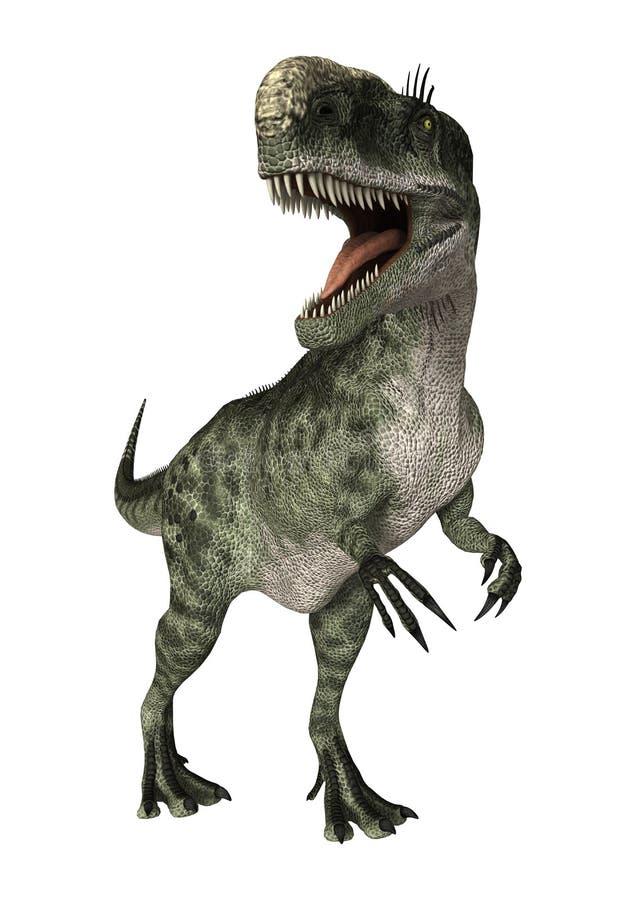 3D renderingu dinosaura Monolophosaurus na bielu ilustracja wektor