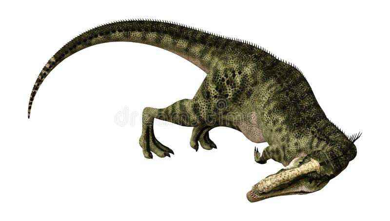 3D renderingu dinosaura Monolophosaurus na bielu ilustracji