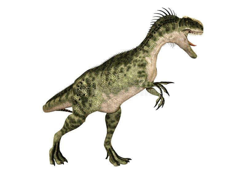 3D renderingu dinosaura Monolophosaurus na bielu royalty ilustracja