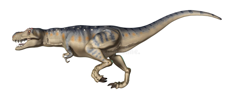 3D renderingu dinosaura Tyrannosaurus na bielu ilustracji