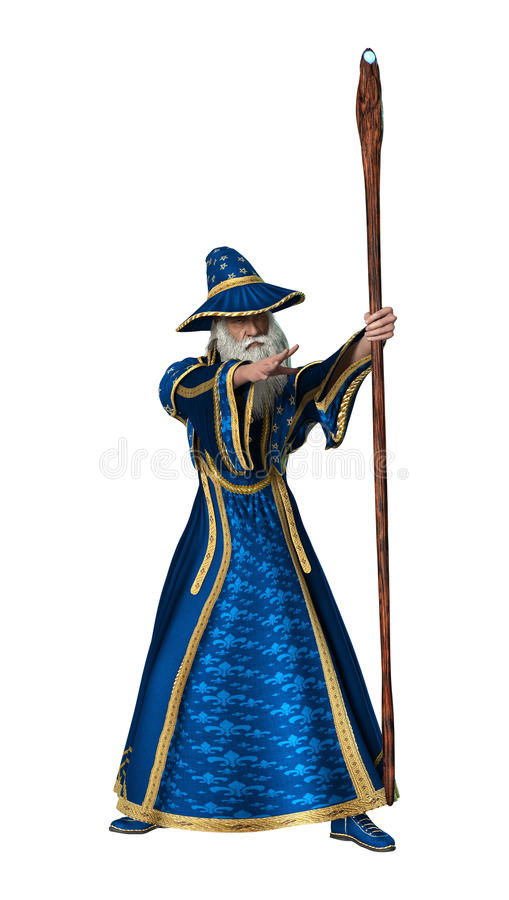 3D renderingu fantazi czarownik na bielu ilustracji