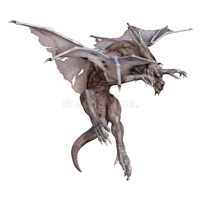 3D renderingu fantazi smok na bielu royalty ilustracja