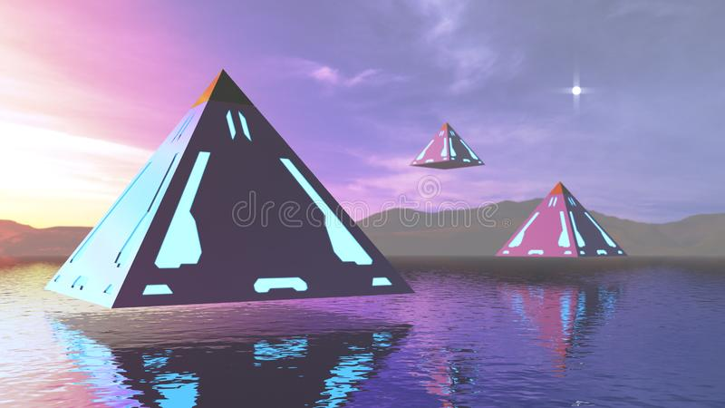 3D renderingu fantazji abstrakcjonistyczni ostrosłupy nad - woda ilustracja wektor