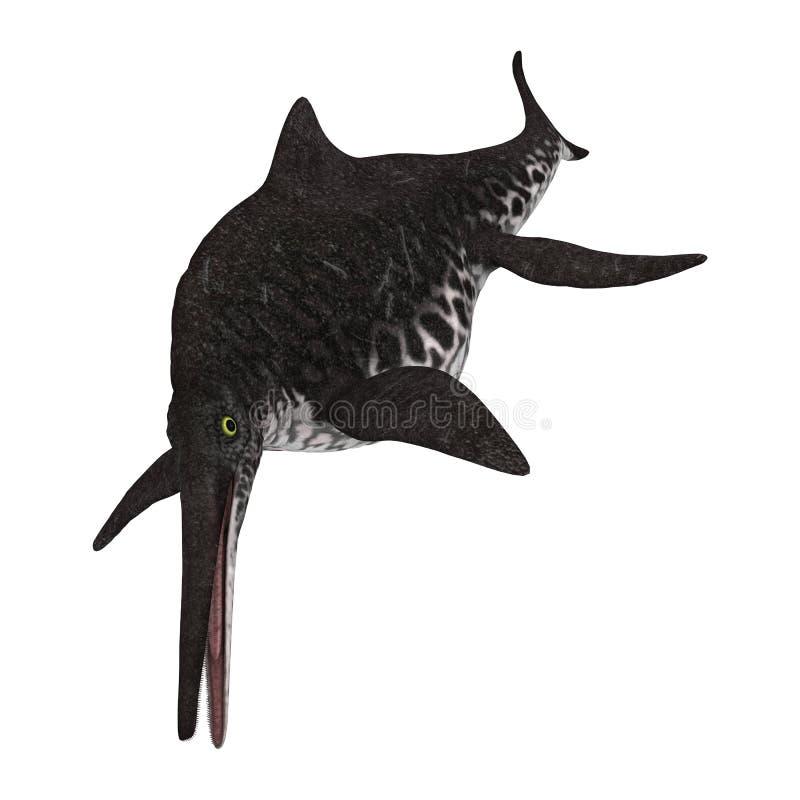 3D renderingu Ichthyosaur Shonisaurus na bielu ilustracja wektor