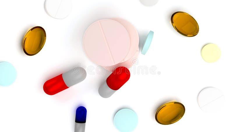3d renderingu ilustracja kolorowe pigułki odizolowywać na białym tle ilustracji