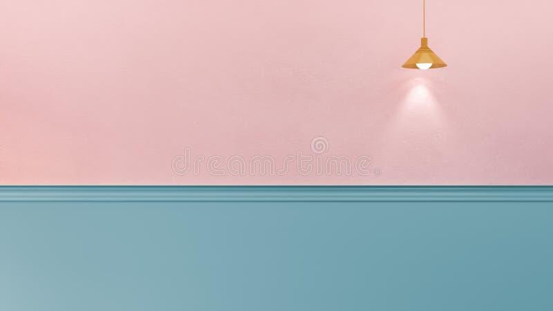 3d renderingu ilustracja menchie i błękit ściana ilustracji