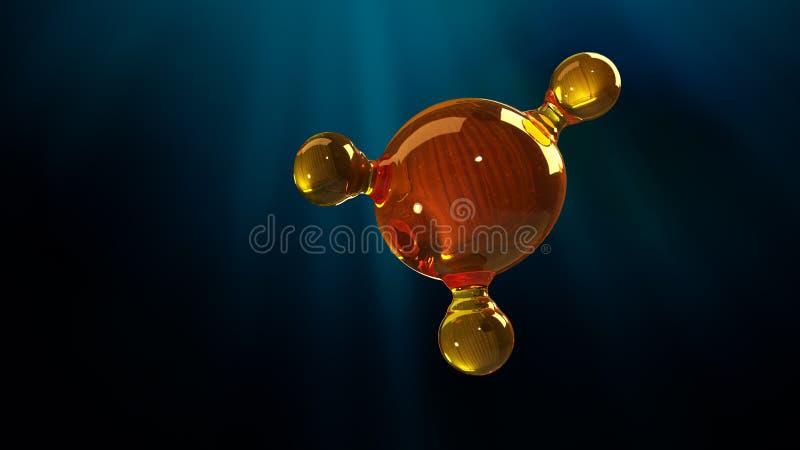 3d renderingu ilustracja szklany molekuła model Molekuła olej Pojęcie struktura modela motorowy olej lub gaz royalty ilustracja