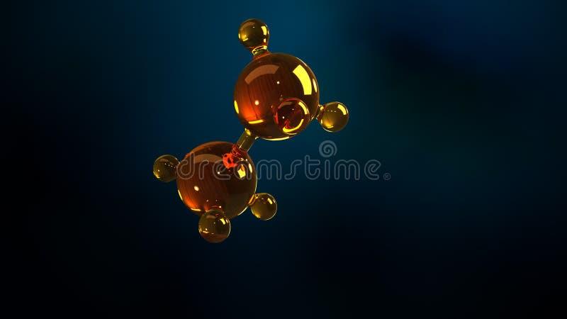 3d renderingu ilustracja szklany molekuła model Molekuła olej Pojęcie struktura modela motorowy olej lub gaz ilustracji