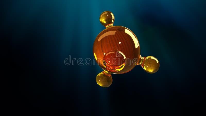 3d renderingu ilustracja szklany molekuła model Molekuła olej Pojęcie struktura modela motorowy olej lub gaz ilustracja wektor