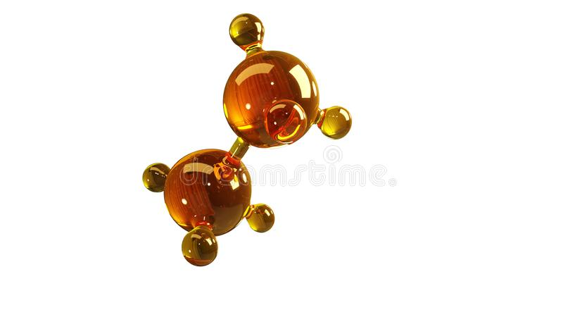 3d renderingu ilustracja szklany molekuła model Molekuła olej Pojęcie struktura modela motorowy olej lub gaz odizolowywający na b royalty ilustracja