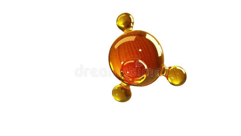 3d renderingu ilustracja szklany molekuła model Molekuła olej Pojęcie struktura modela motorowy olej lub gaz odizolowywający na b ilustracji