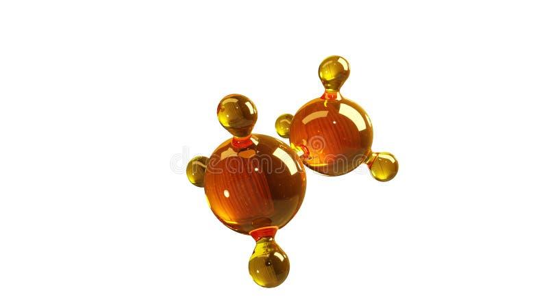 3d renderingu ilustracja szklany molekuła model Molekuła olej Pojęcie struktura modela motorowy olej lub gaz odizolowywający na b ilustracja wektor