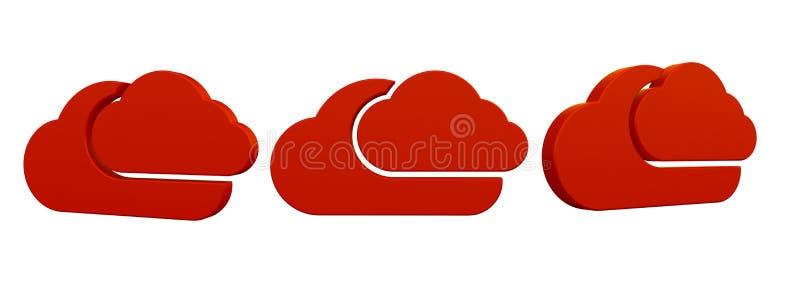 3d renderingu kolekcja z chmurami czerwonymi royalty ilustracja
