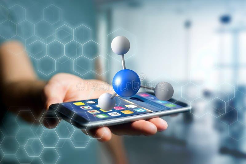 3d renderingu molekuła na wystawiam na medycznym interfejsie fotografia stock