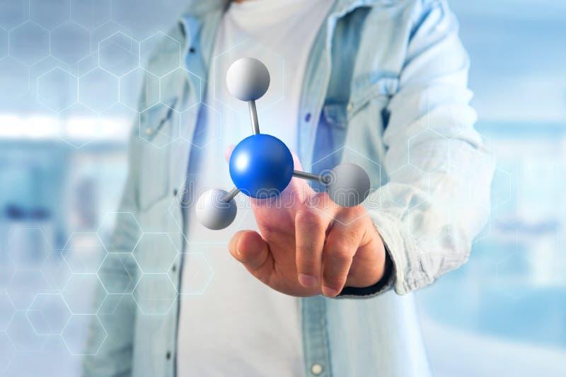 3d renderingu molekuła na wystawiam na medycznym interfejsie fotografia royalty free