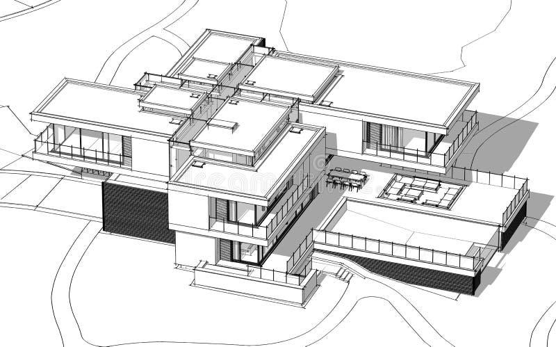 3d renderingu nakreślenie nowożytny wygodny dom rzeką z garażem dla sprzedaży lub czynszu Czarny kreskowy nakreślenie z miękkim ś
