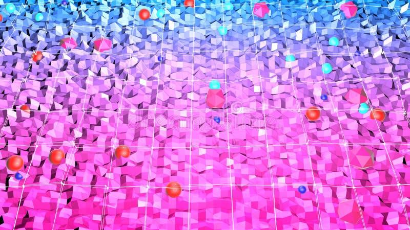 3d renderingu niski poli- abstrakcjonistyczny geometryczny tło z nowożytnymi gradientowymi kolorami 3d powierzchnia z czerwonym b royalty ilustracja
