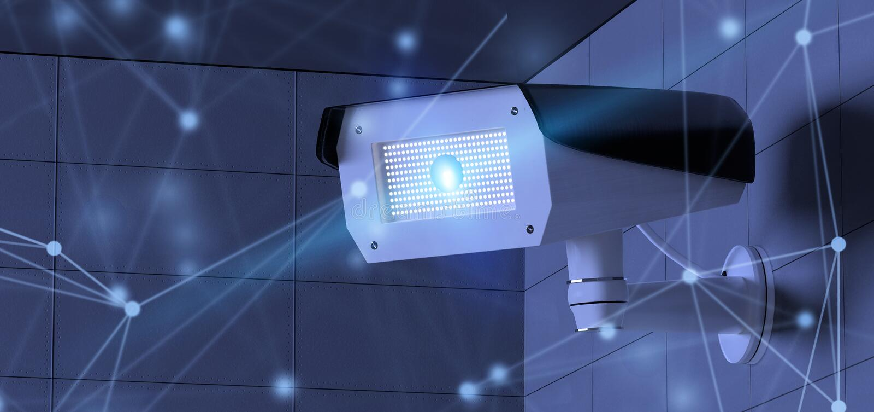 3d renderingu ochrony CCTV kamery system z siecią royalty ilustracja