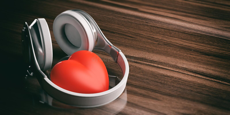 3d renderingu para bezprzewodowi hełmofony i czerwony serce ilustracja wektor