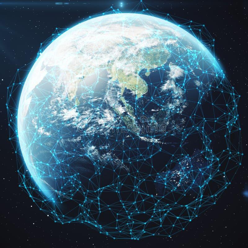 3D renderingu sieć i dane wymiana nad planety ziemią w przestrzeni Związek wykłada Wokoło Ziemskiej kuli ziemskiej globalny royalty ilustracja
