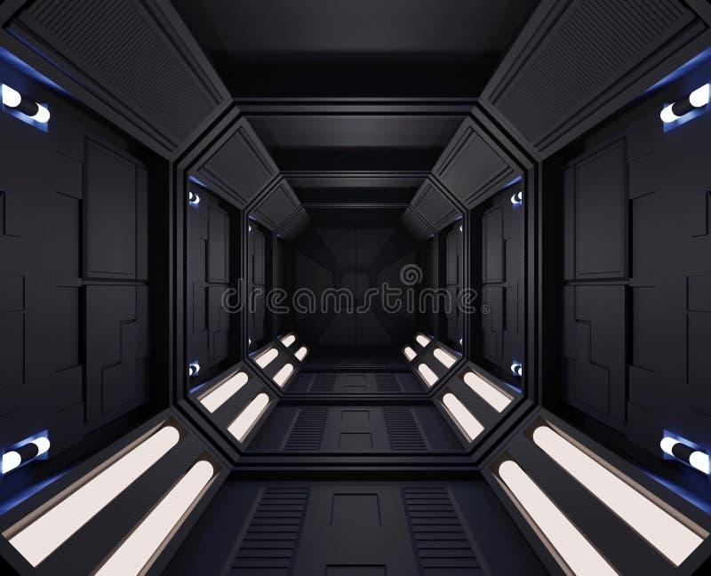 3D renderingu statku kosmicznego ciemny wnętrze z widokiem, tunel, korytarzy mali światła royalty ilustracja