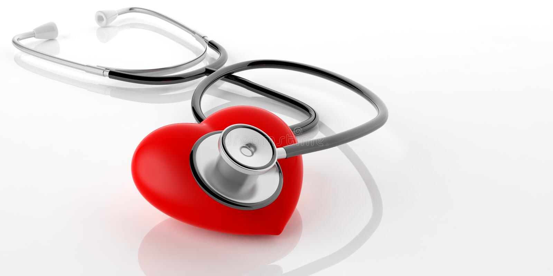 3d renderingu stetoskop i czerwieni serce ilustracji