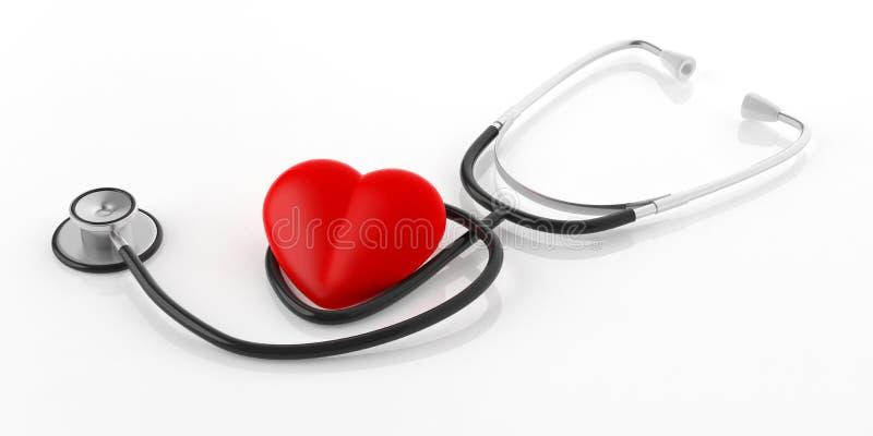 3d renderingu stetoskop i czerwieni serce royalty ilustracja
