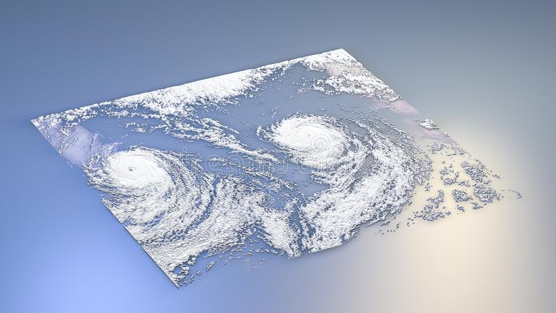 3d renderingu terenoznawstwo z sześcianami ilustracji