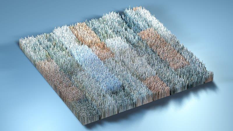 3d renderingu terenoznawstwo z sześcianami royalty ilustracja