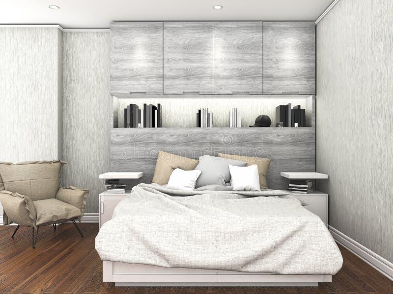 3d renderingu współczesna drewniana podłoga z z światłem dziennym wśrodku sypialni royalty ilustracja