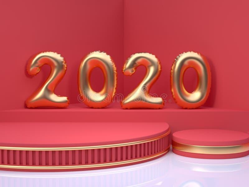 3d renderingu złota balonu liczba/typ czerwonych sceny ściany podłogi kąta abstrakcjonistycznych minimalnych bożych narodzeń nowe royalty ilustracja