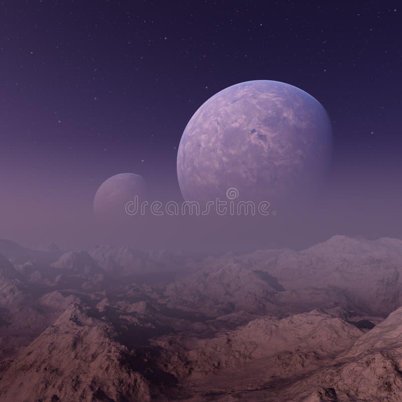 3d renderização da arte espacial: Planeta Aliene - Uma Paisagem Fantástica com céus e nuvens roxos ilustração stock