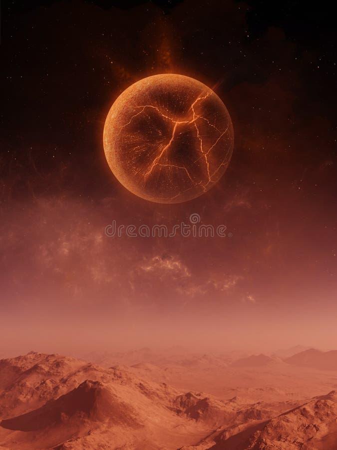 3d renderização da arte espacial: Planeta Aliene - Uma Paisagem Fantástica com céus vermelhos e planeta em explosão ilustração stock