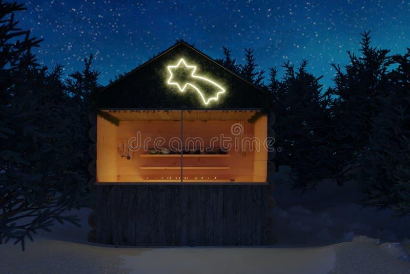 3d renderização da cabana de madeira do mercado de natal na floresta durante a noite ilustração do vetor