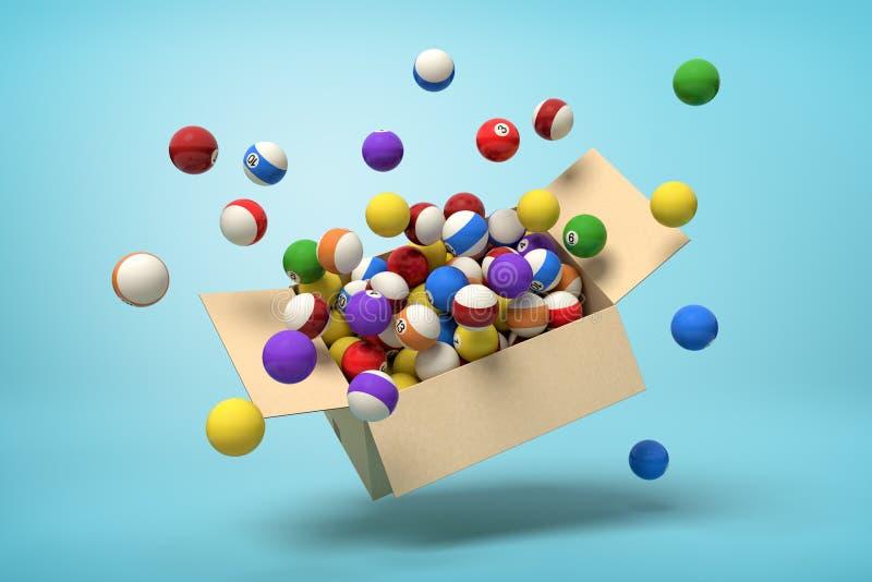 3d renderização da caixa de papelão no ar cheia de bolas coloridas de snooker que voam para fora e flutuam para fora em azul ilustração royalty free