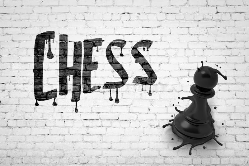 3d renderização da parede branca de tijolos com o título 'CHESS' e o grande peão preto de fusão esmagado na parede imagem de stock royalty free