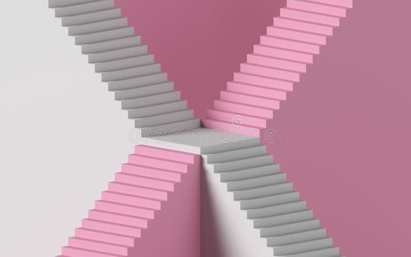 3d renderização de escada branca isolada sobre fundo rosa Plataforma em branco Conceito mínimo Elementos de design arquitetônico ilustração royalty free