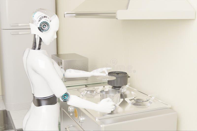 3d renderização de robôs culinários inteligência artificial para cozinhar alimentos no conceito futurista ilustração do vetor