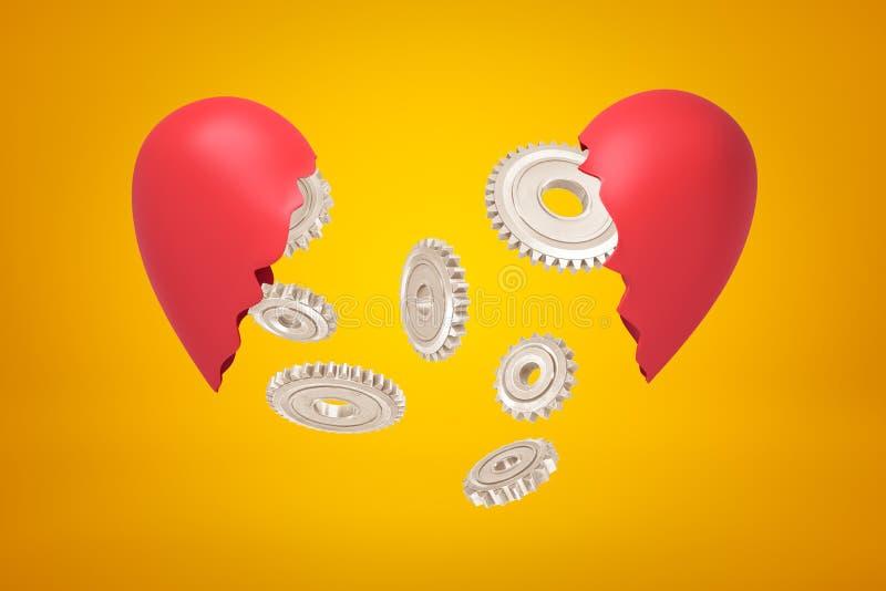 3d renderização de rodas de engrenagens prateadas que caiam entre dois pedaços de coração partidos vermelhos sobre fundo amarelo ilustração do vetor